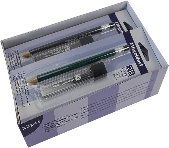 Portaminas Técnico Lápiz 2mm 2B de plástico con Sacapuntas Caja de 12: Amazon.es: Oficina y papelería