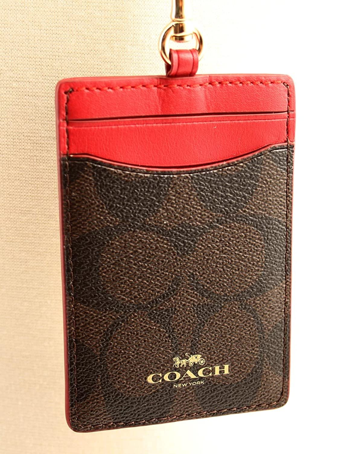 Amazon.com: Coach Signature Brown Red Lanyard ID Badge Card Holder ...