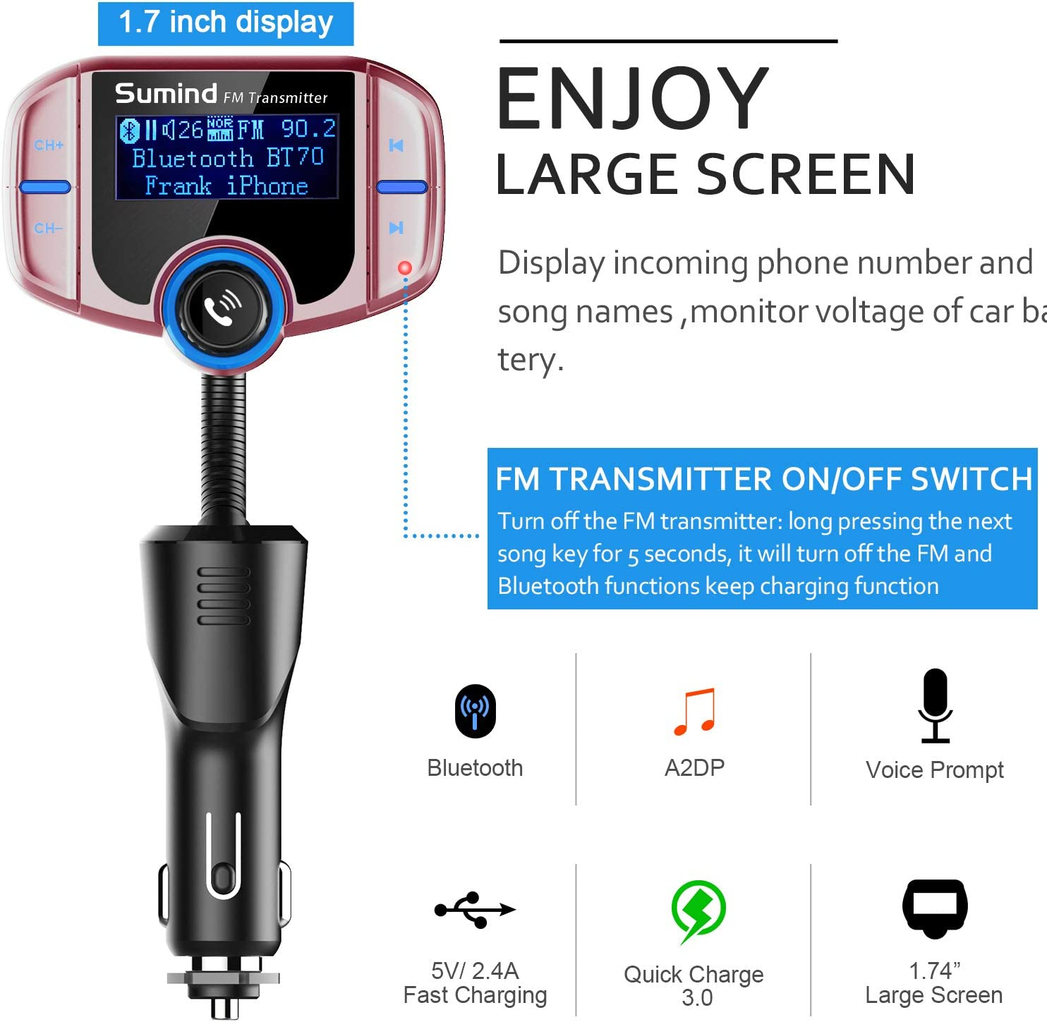 Wireless Radio Adapter Hands-Free Kit with 1.7 Inch Display Golden Upgraded Version TF Card Mp3 Player Sumind Car Bluetooth FM Transmitter QC3.0 and Smart 2.4A USB Ports AUX Output