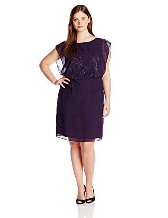 Le Bos Womens Plus Size Flutter Sleeve Blouson Dress Eggplant 22w