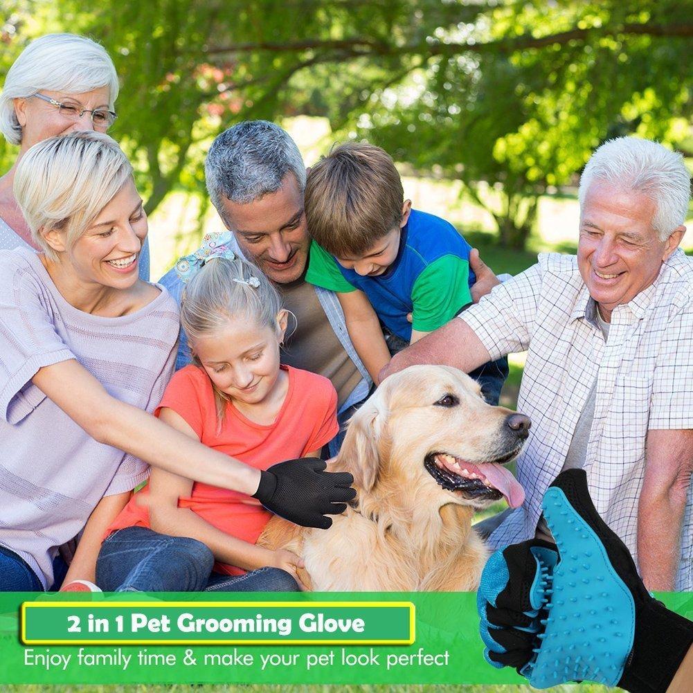 WLEJDDD Pet Gloves Silica Gel Double-Sided Hair Removal Clean Massage Pet Products Dog Gloves Dog Grooming Deshedding Brush Light Green M