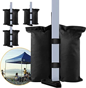 venrey 4 Pack Canopy Sandbags Weight Bags, Industrial Grade Heavy Duty Weights Bag Leg Weights for Pop up Canopy Tent, Patio Umbrella, Outdoor Furniture, Sports, Sand Bags Without Sand - Black