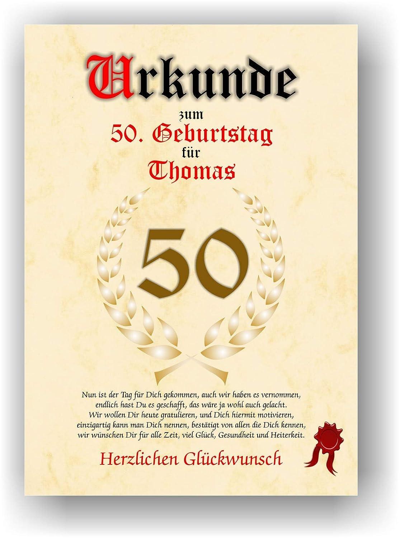 Urkunde zum 50. Geburtstag - Glückwunsch Geschenkurkunde personalisiertes Geschenk Gedicht Grußkarte Geschenkidee mit Spruch DIN A4 C.K. Onlinehandel 391-Urkunde 50 Geburtstag