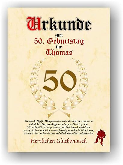 Certificado para 50º cumpleaños - Regalo de felicitación ...
