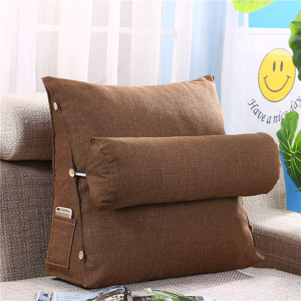 FASTCXV Solid Color Simple Cotton Triangle Cushions Small Fresh Sofa Pillow Bed backrest Removable Tatami Back Waist Bamboo Hemp - Brown 454820+Ф16 by FASTCXV