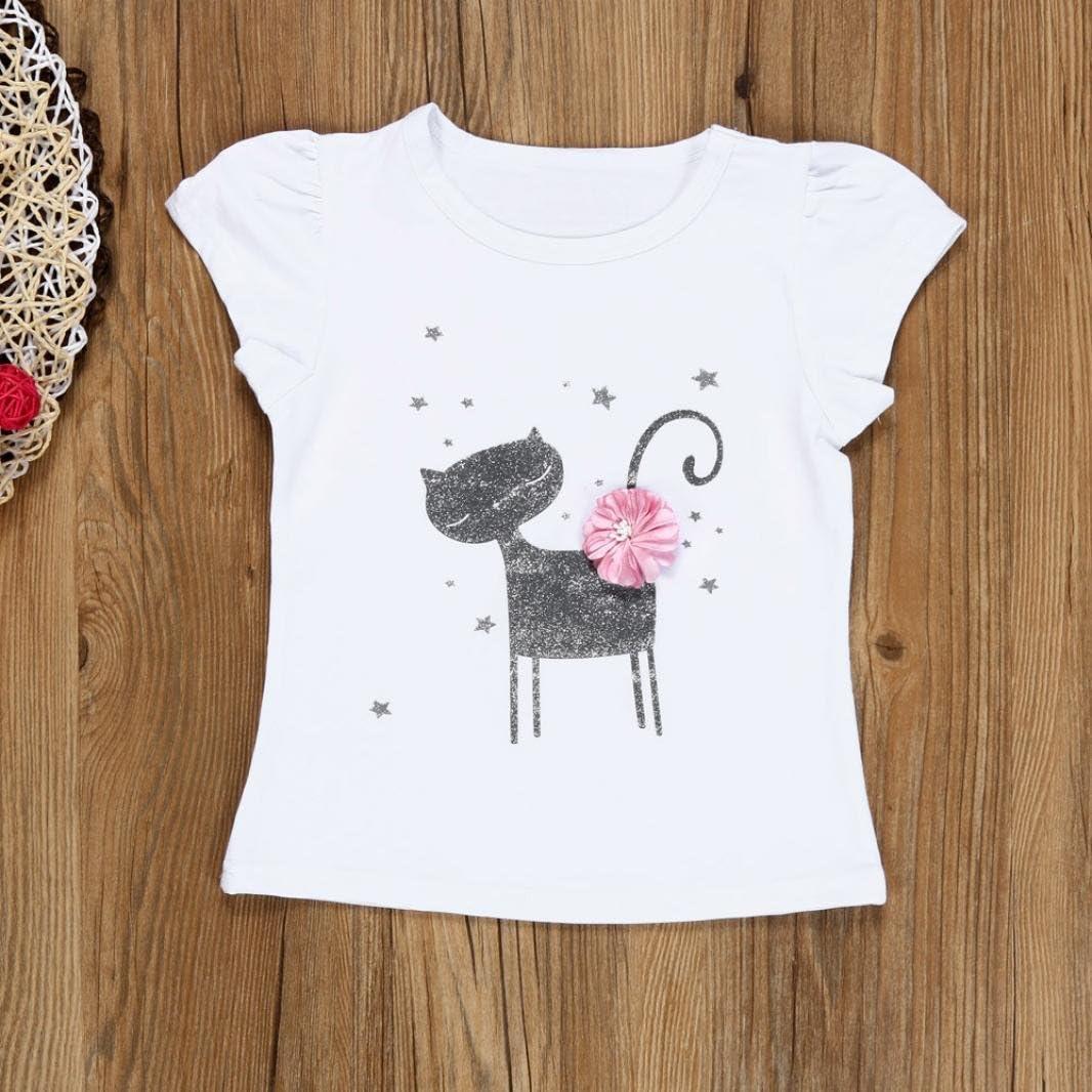 K-youth Vestido de ni/ña Vestido para Beb/és Ropa Impresa de Camisa y del Vestido del Gato Muchacha Encantadora Ropa de Bebe ni/ña Verano 2018