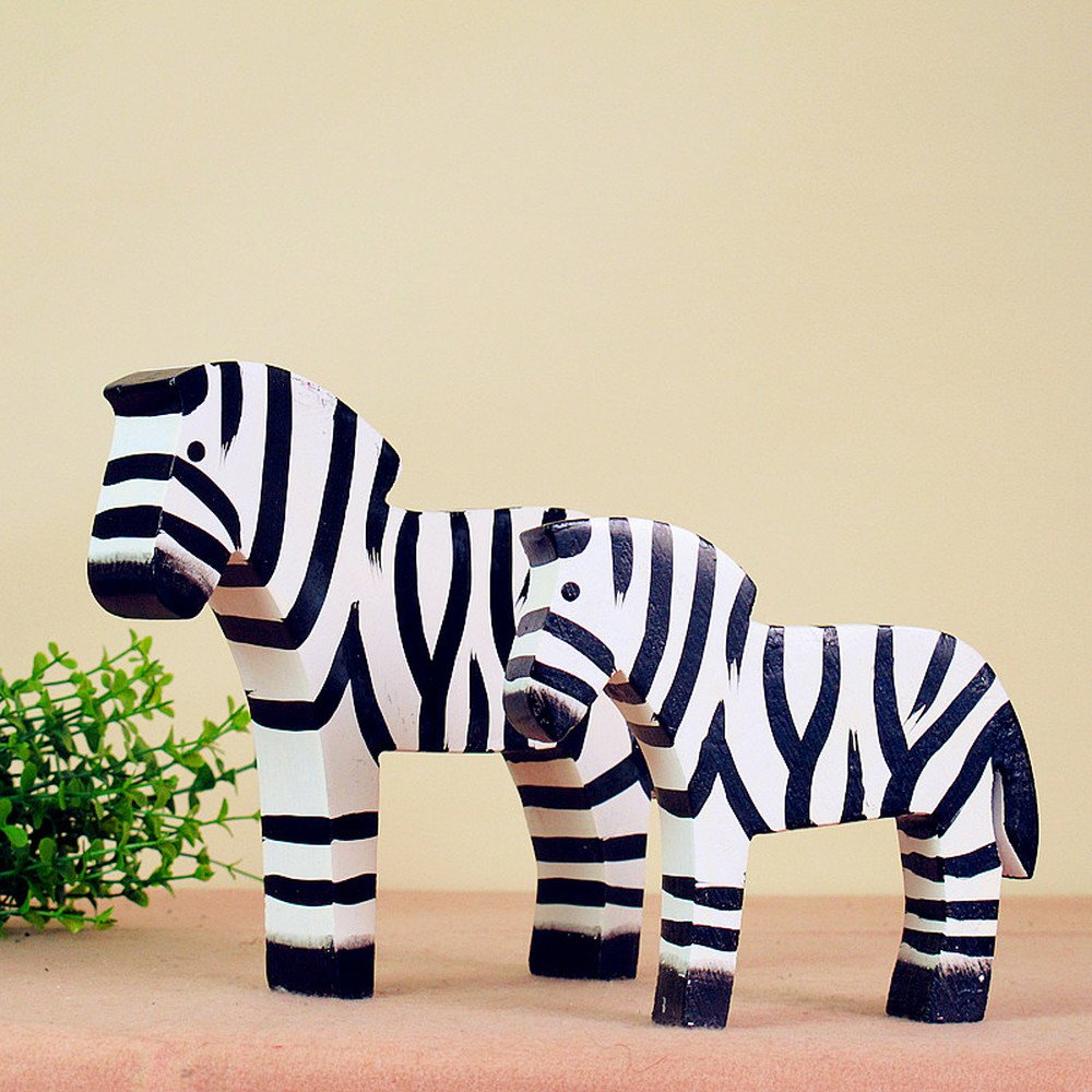 BWLZSP 1 pair Simple Classic Country Style Nordic Log Decorations Oban Set Two Raw Wood Zebras LU620118 by BWLZSP (Image #3)