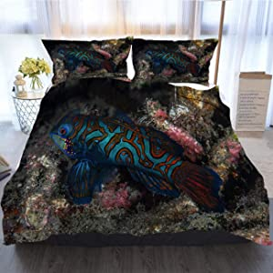 OTTOSUN Fish Bedding 3 Piece Duvet Cover Sets,Mandarin Fish and Hard Coral,Home Luxury Soft Duvet Comforter Cover,Queen