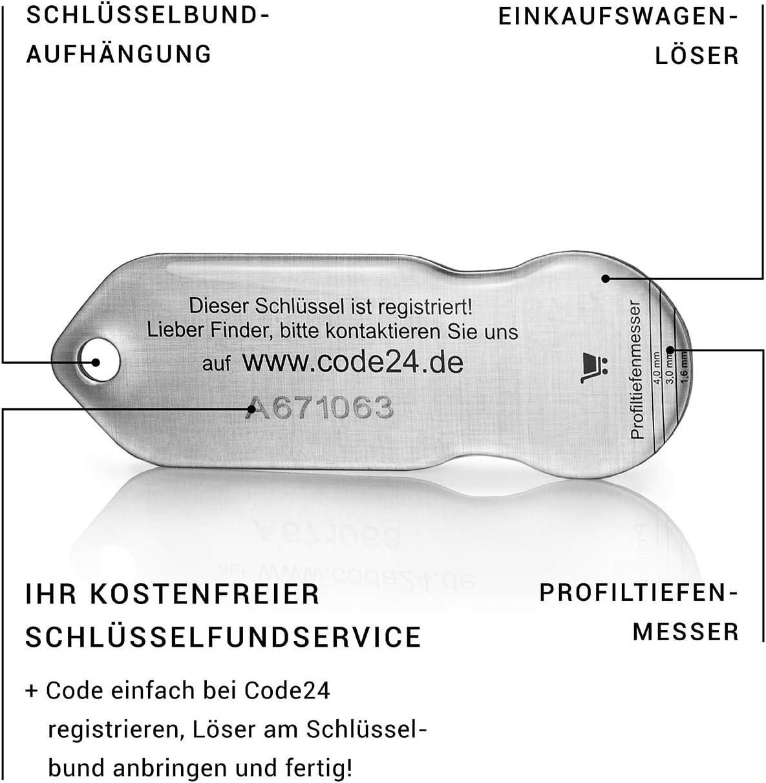 Code denregistrement pour service de trousseau de cl/és inclus Porte-cl/és avec jeton de courses et porte-cl/és Lot de 5 jetons de chariot Lieblings24