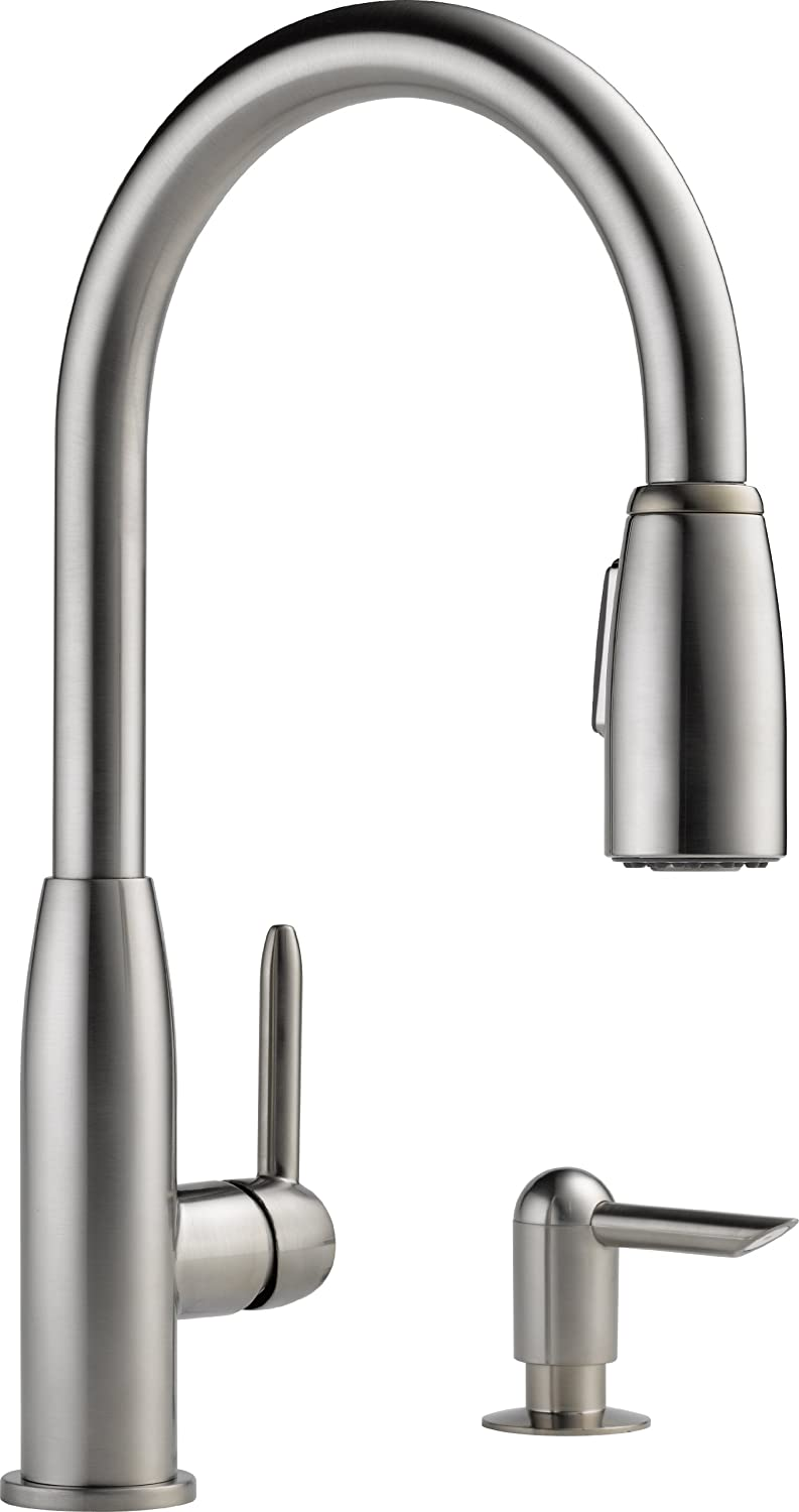 Delta Faucet CO P188103LF-SSSD Stainless Steel Single Hand Kit Faucet Kitchen Pull-Down with Soap Dispenser