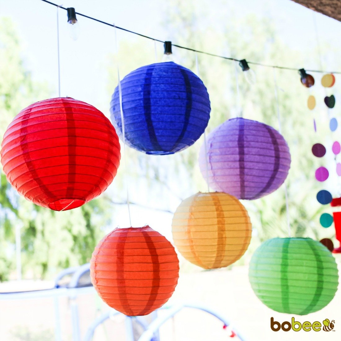 Details about Bobee Rainbow Party Decorations, Fiesta Party Supplies Paper  Lanterns, 6 Count