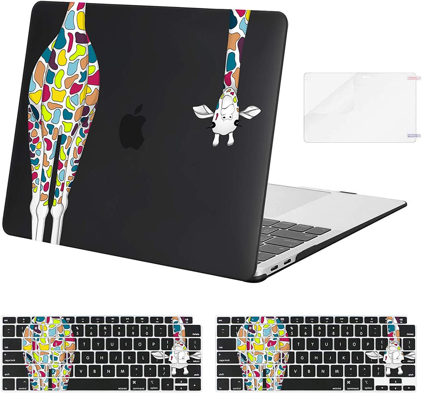 MOSISO MacBook Air 13 inch Case 2020 2019 2018 Release A2179 A1932, Plastic Giraffe Hard Shell & Keyboard Cover & Screen Protector Only Compatible with MacBook Air 13 inch Retina Display, Black