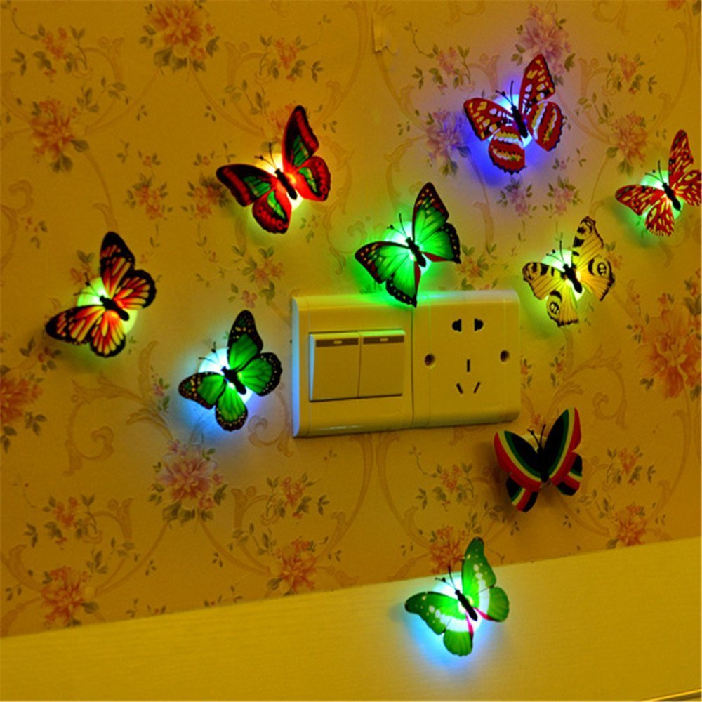 Butterfly Lights, PANNIUZHE 12PCS Flashing Colorful 3D Butterfly ...