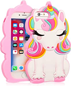 """Coralogo for iPhone 8 Plus/7 Plus/6S Plus/6 Plus Case, 3D Cute Cartoon Funny,Silicone Character Shockproof Kawaii Fun Cover Cases for Girls Kids iPhone 6 Plus/6S Plus/7 Plus/8 Plus 5.5""""(Color Unicorn)"""