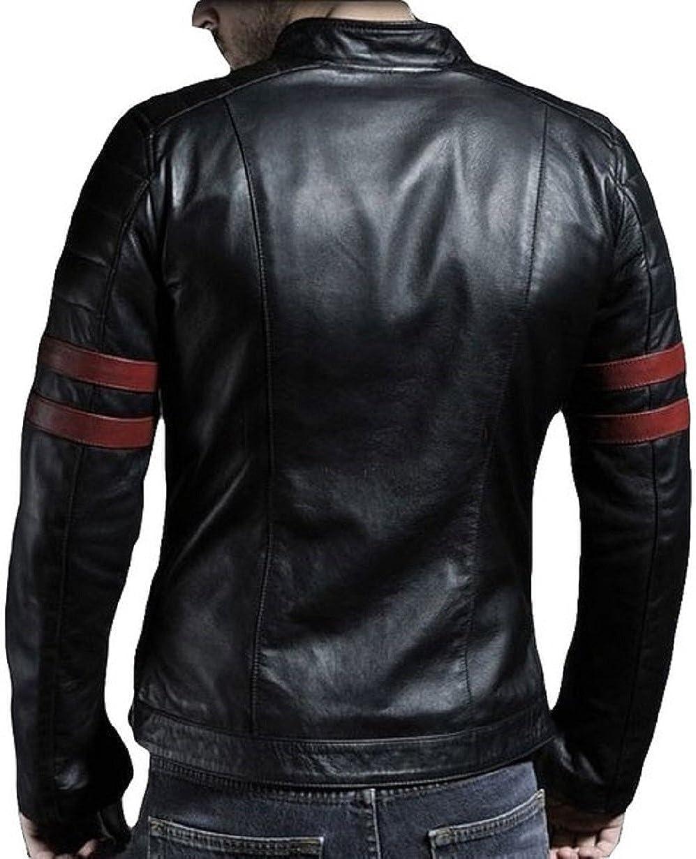 NBENTERPRISES Mens Slim Fit Leather Strip Bomber Black Jacket
