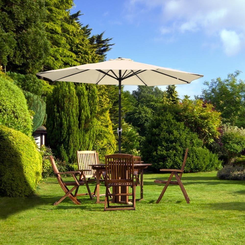 reasejoy 2,7 m (9ft) 8-rib exterior jardín aluminio sombrilla ...