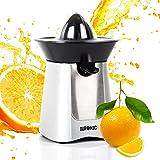 Duronic JE6 Kompakter elektrischer Edelstahl-Entsafter/Zitruspresse/Orangenpresse/Saftpresse 100W - 2 Presskegel - Ideal für Zitrussäfte wie Orangen und Zitronen