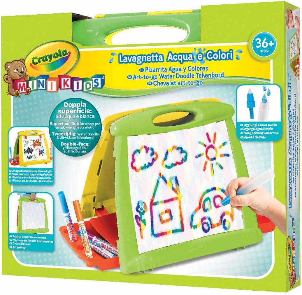 CRAYOLA Mini Kids Lavagnetta Acqua /& Colori Multicolore Doppia Superficie ad Acqua e Bianca per Pennarelli da 36 Mesi 5074-07 6 Pennarelli 98-5807