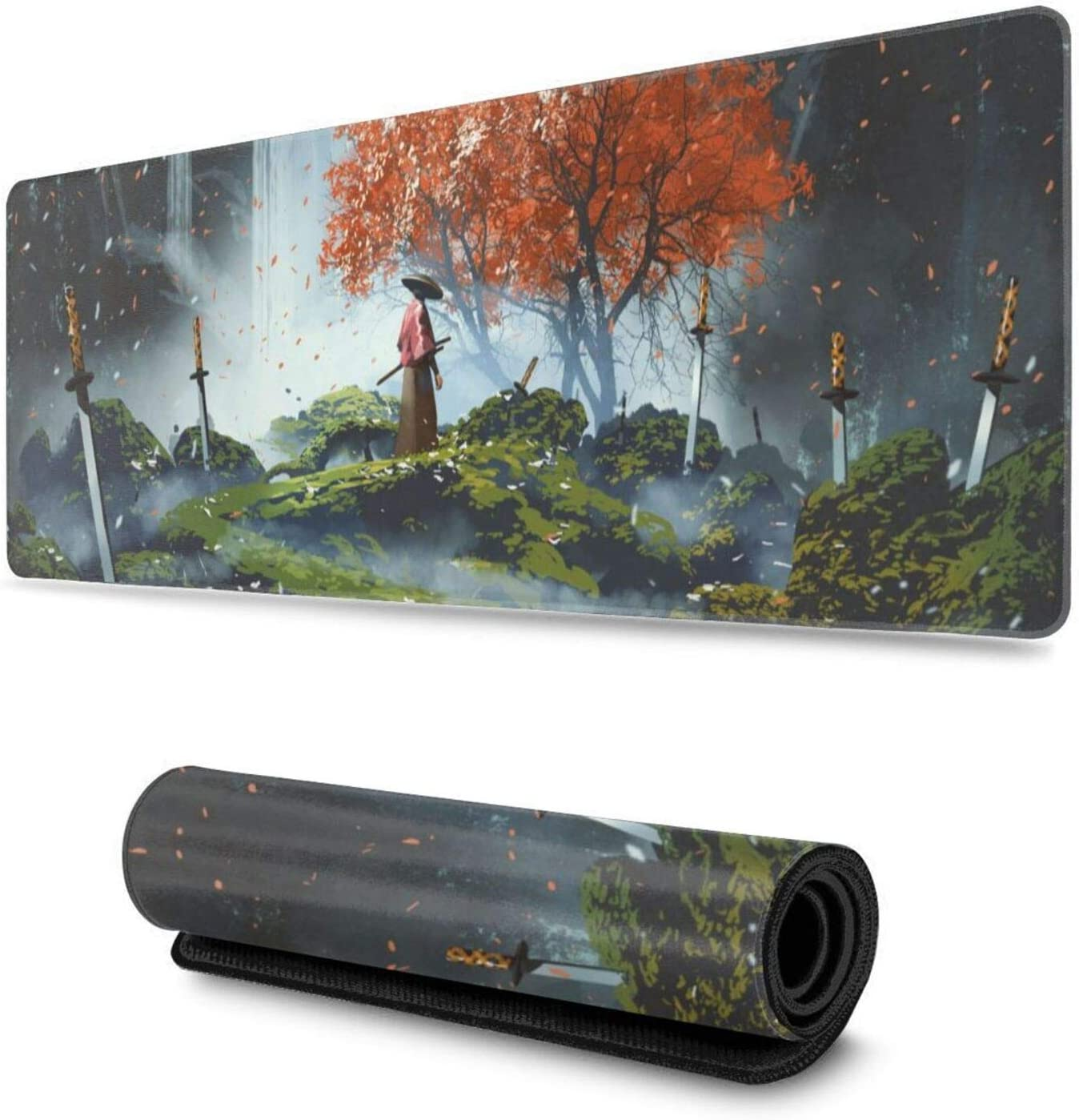 Japanese Samurai in Waterfall Garden Gaming Mouse Pad XL, Extended Large Mouse Mat Desk Pad, Stitched Edges Mousepad, Long Non-Slip Rubber Base Mice Pad, 31.5 X 11.8 Inch