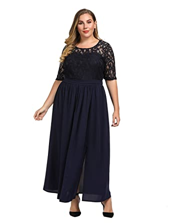 cb7b8b555 Chicwe Women's Plus Size Guipure Lace Maxi Dress - Wedding Party Cocktail  Dress with Flared Skirt