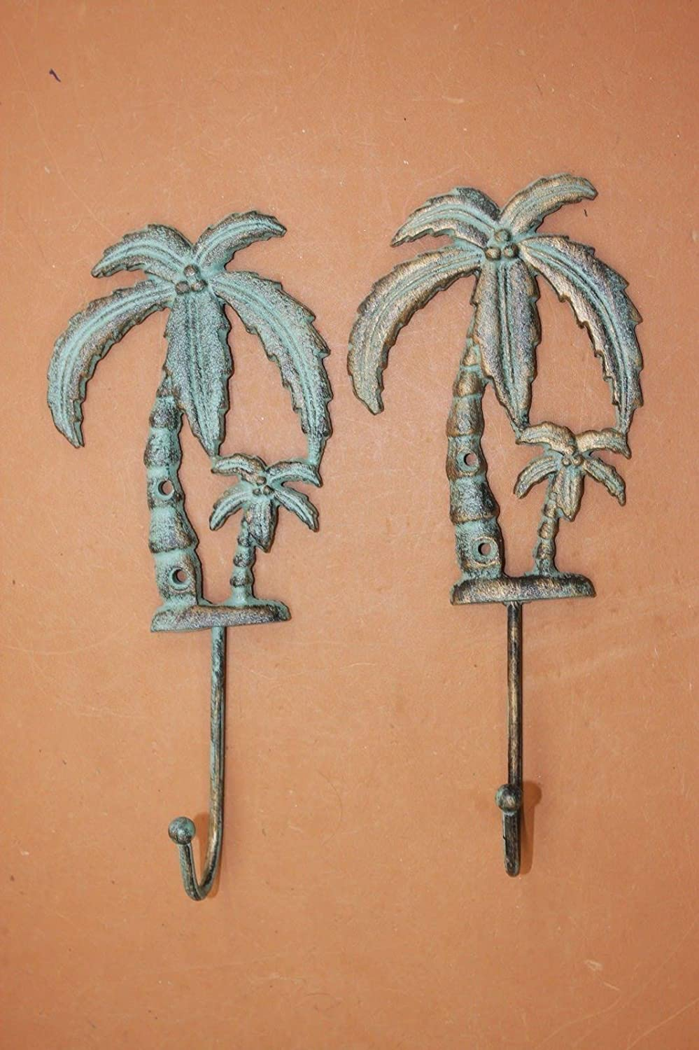 "Lanai Bath Decor Tropical Palm Tree Bath Hook Cast Iron Bronze-look, 9 1/2"", set of 2"