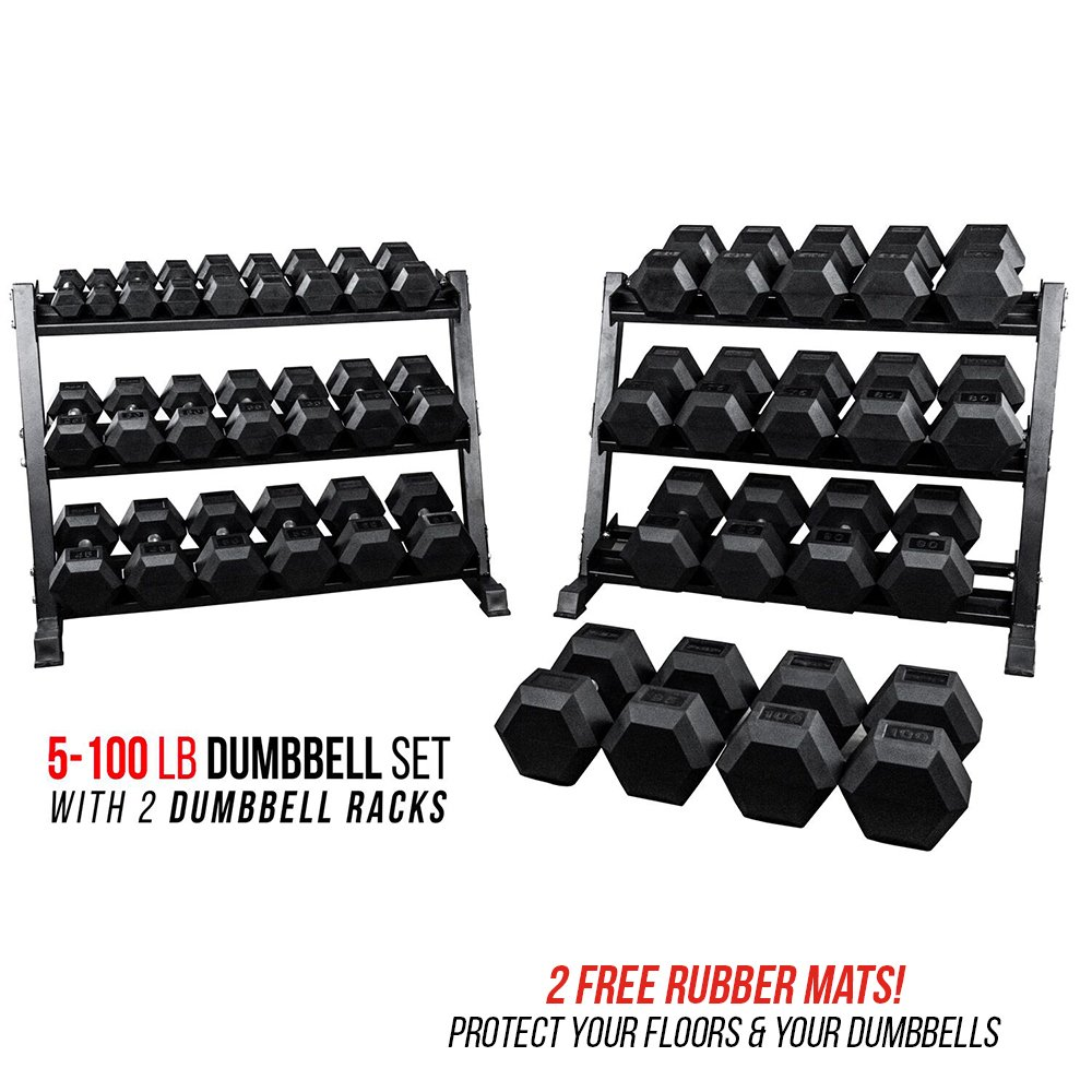 Rep 5-100 lb Rubber Hex Dumbbell Set with 2 Racks and 2 Free Rubber Mats