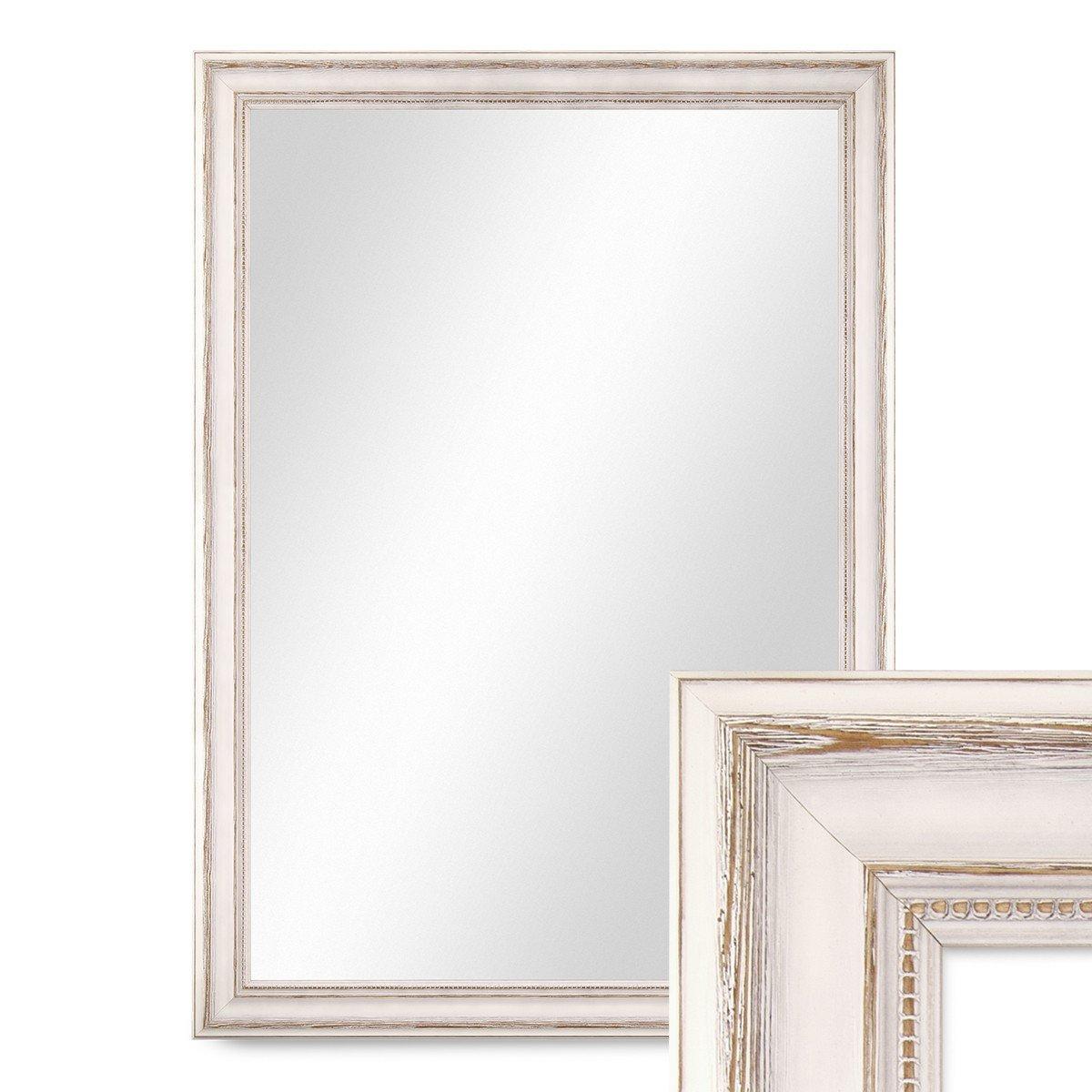 Photolini Wand-Spiegel 70x90 cm im Massivholz-Rahmen Landhaus-Stil ...