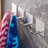 YIGII Towel Hooks/Bathroom Hook - Self Adhesive Hooks Office Hooks Hanging Keys for Kitchen Stick on Wall Stainless Steel 4 P