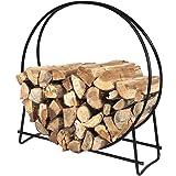 Firewood Log Rack Hoop Tubular Steel Wood Storage Holder for Indoor & Outdoor (40 Inch)