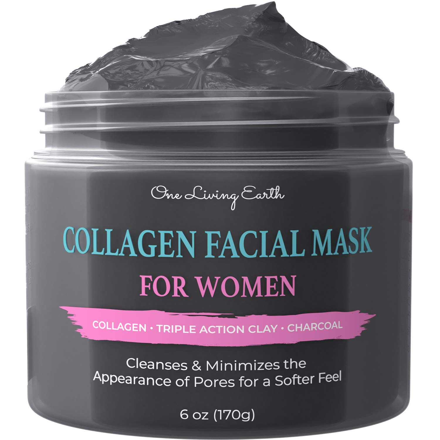 One Living Earth Collagen Face Facial Mask for Women - Deep Cleansing with Triple Action Clay & Activated Charcoal - Pore Minimizer, Reduce Acne, Blackheads, Oily Skin, Wrinkles, Fine Lines (6 oz)