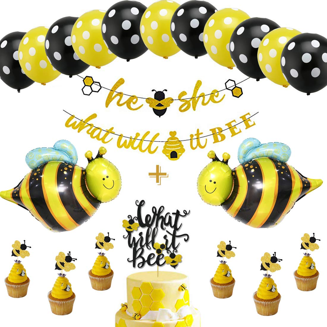 What Will It Bee Gender Reveal Party Decorations Set - He or She Bee Banner,Bumble Bee Cake Topper,12'' Yellow Black Polka Dot Balloons Latex Balloons,Boy or Girl Themed Baby Shower by zorpia