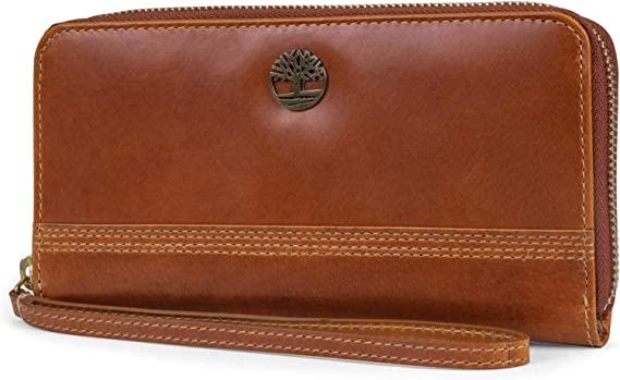 Timberland Leather RFID Zip Around Wallet Clutch with Wristlet Strap, Cognac (Buff Apache) best women's wristlets
