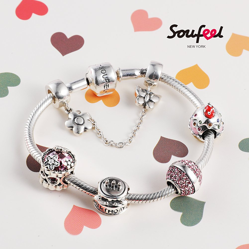 SOUFEEL ''Happy Birthday'' Bracelet 925 Sterling Silver Charm Bracelets 9.1 Inch With Safety Chain Birthday Gift by SOUFEEL (Image #4)