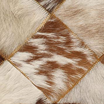 VidaXL Canap/é 2 places aspect peau de vache Canap/é lounge canap/é design canap/é canap/é deux places salon blanc marron en cuir de ch/èvre v/éritable
