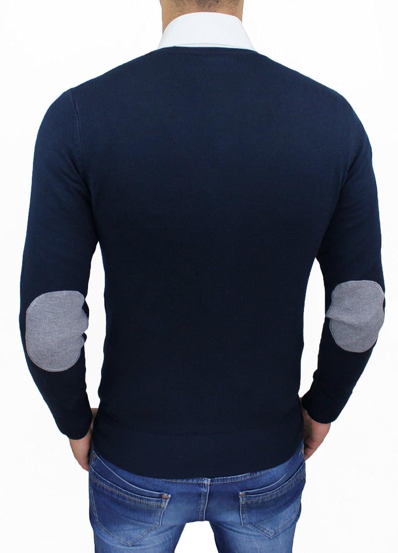 Evoga Cardigan Maglioncino Uomo Blu Scuro Casual Slim Fit Aderente