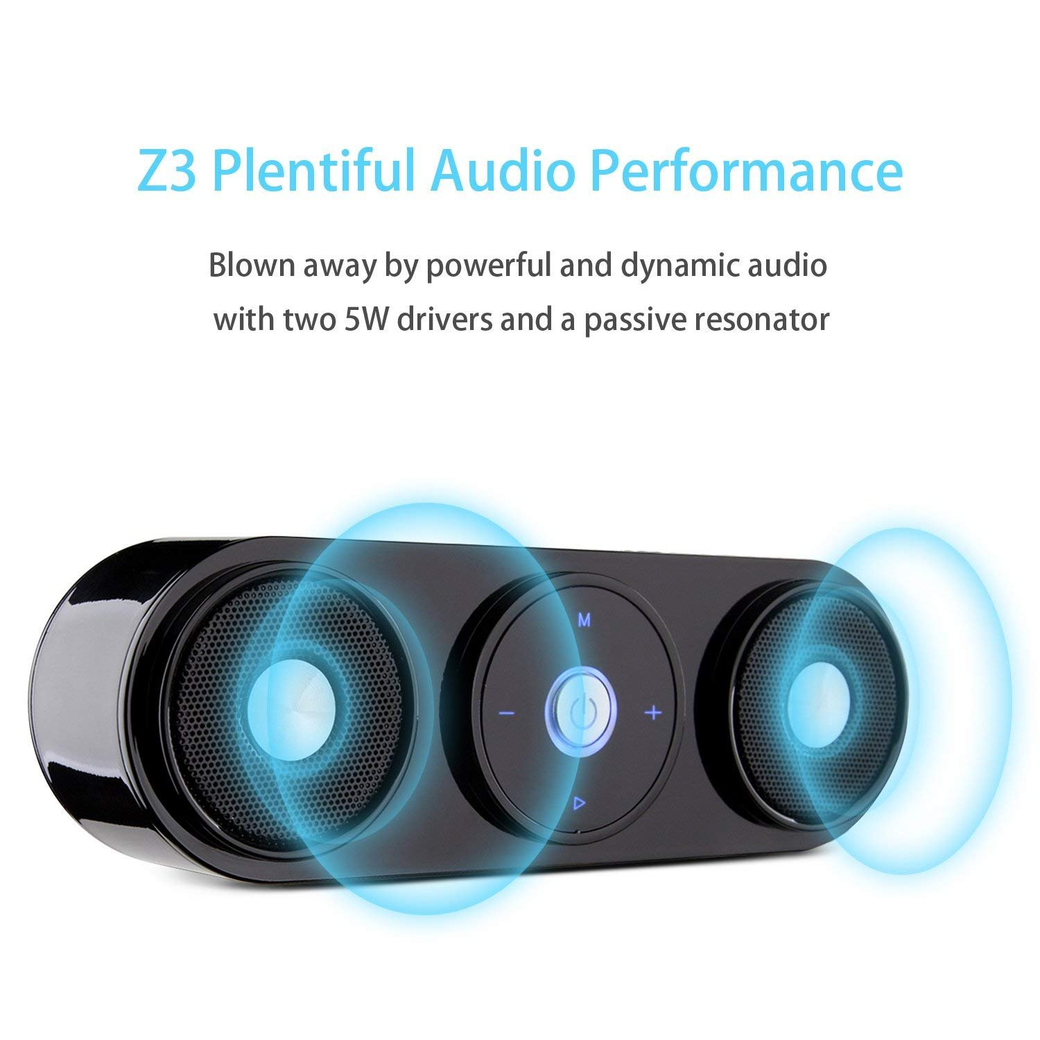 Bluetooth Speakers, ZENBRE Z3 10W Wireless Computer Speakers with 20h Playtime, Portable Speaker with Dual-Driver Enhanced Bass Resonator (Black) by ZENBRE (Image #5)