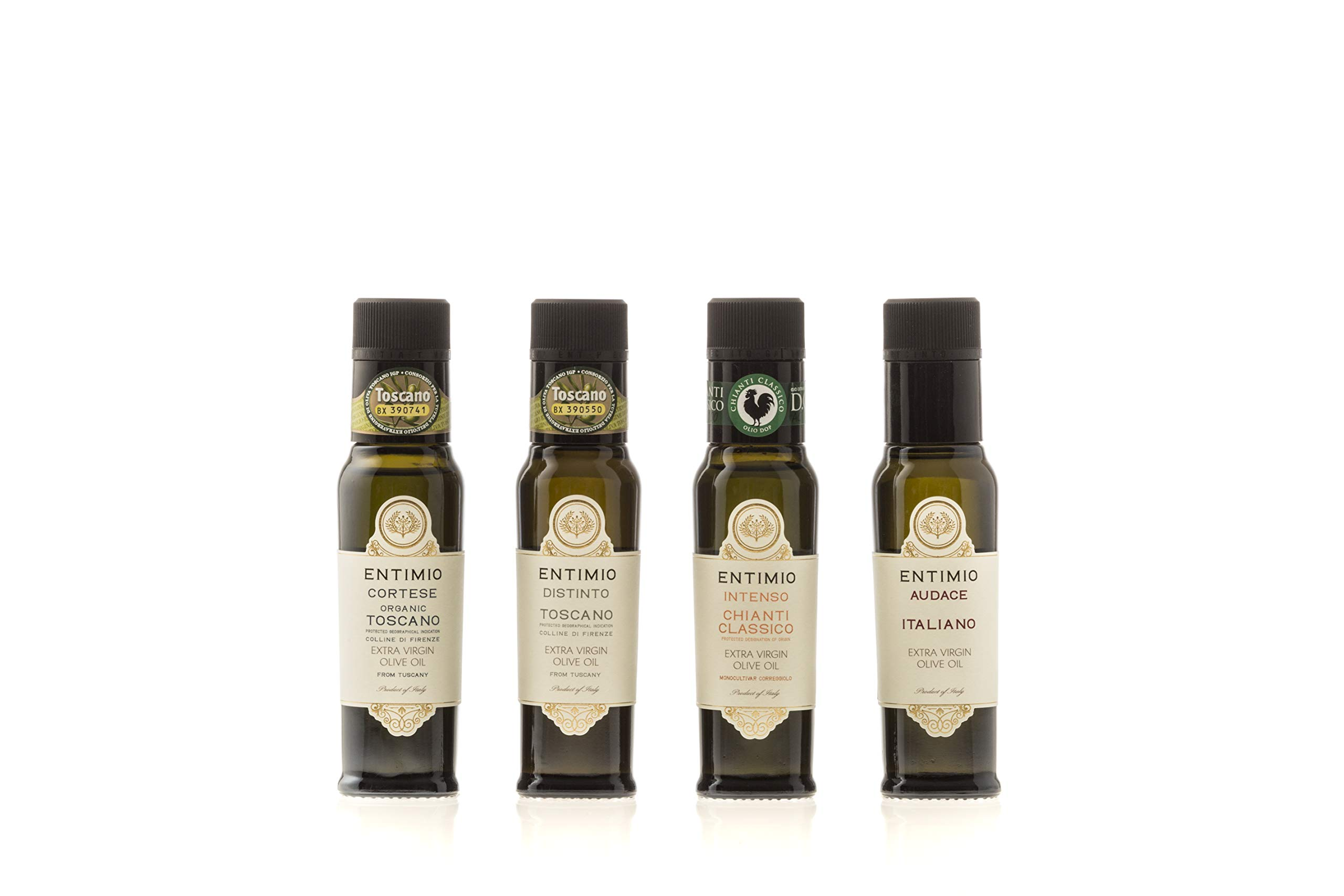 Entimio Collection Gift Box | Tuscany Olive Oil Extra Virgin, from Medium-Delicate to -Robust | 2018 Harvest, 2019 Gold Winners, Italy, High Antioxidants | 13.5 fl oz (Pack of 4 x 3.4 fl oz)