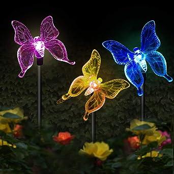 LED Luces Solar exterior Mariposa Impermeables Luz,MMTX 3 Piezas jardín Luces de juego solar cambio de color Mariposas al aire libre decoraciones de fiesta para césped patio camino: Amazon.es: Iluminación