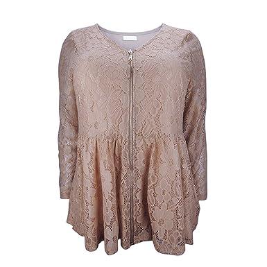 Acereima Women Vintage Floral Lace Crochet Front Zipper Long Sleeve Jacket Bronze M