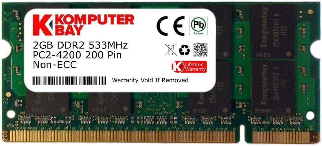Komputerbay 2GB DDR2 533MHz PC2-4200 PC2-4300 DDR2 533 (200 PIN) SODIMM Laptop Memory