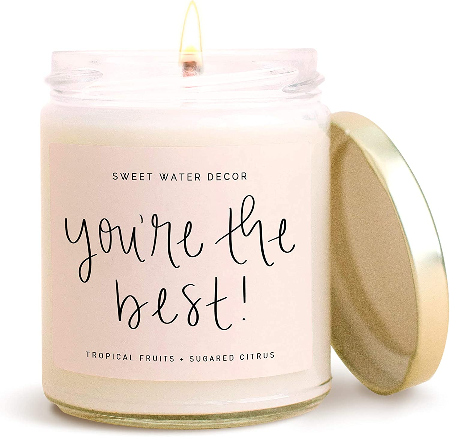 Sweet Water Decor You're The Best Candle | Tropical Fruit and Sugared Orange, Summer Scented Soy Wax Candle for Home | 9oz Clear Glass Jar, 40 Hour Burn Time, Made in The USA