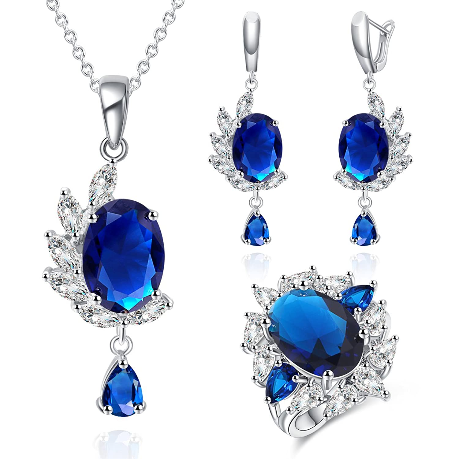 Luxury Ladies Jewelry Sets Cubic Zirconia Rhodium Plated Oval Necklace Earring Ring Sets Dark Blue Color
