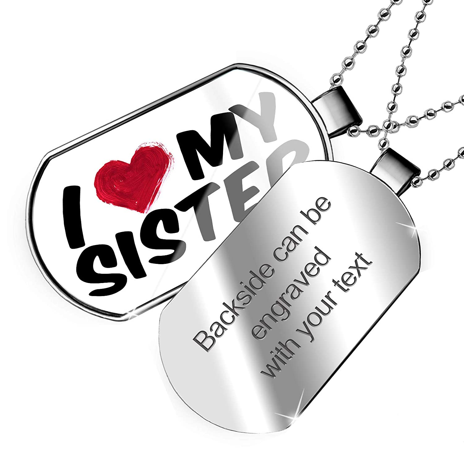 NEONBLOND Personalized Name Engraved I Heart Love My Sister Dogtag Necklace