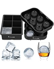 FYLINA SU001 Ice Cube Trays (Set of 2) Black Silicone 6 Giant Ice Ball Cube Maker Use for Kids with Candy Pudding Jelly Milk Juice Chocolate Mold or Cocktails Whiskey Particles