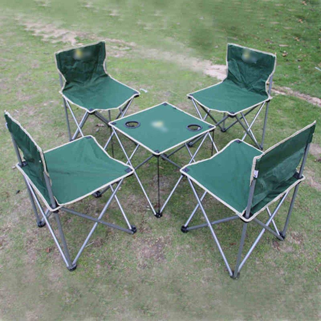 Anna Kletterstuhl Outdoor Falttische und Stühle 5 Sets von einfachen Falttische und Stühle Farbe optional (Farbe : Grün)