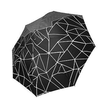Paraguas Plegable, diseño de líneas Personalizadas, Color Negro