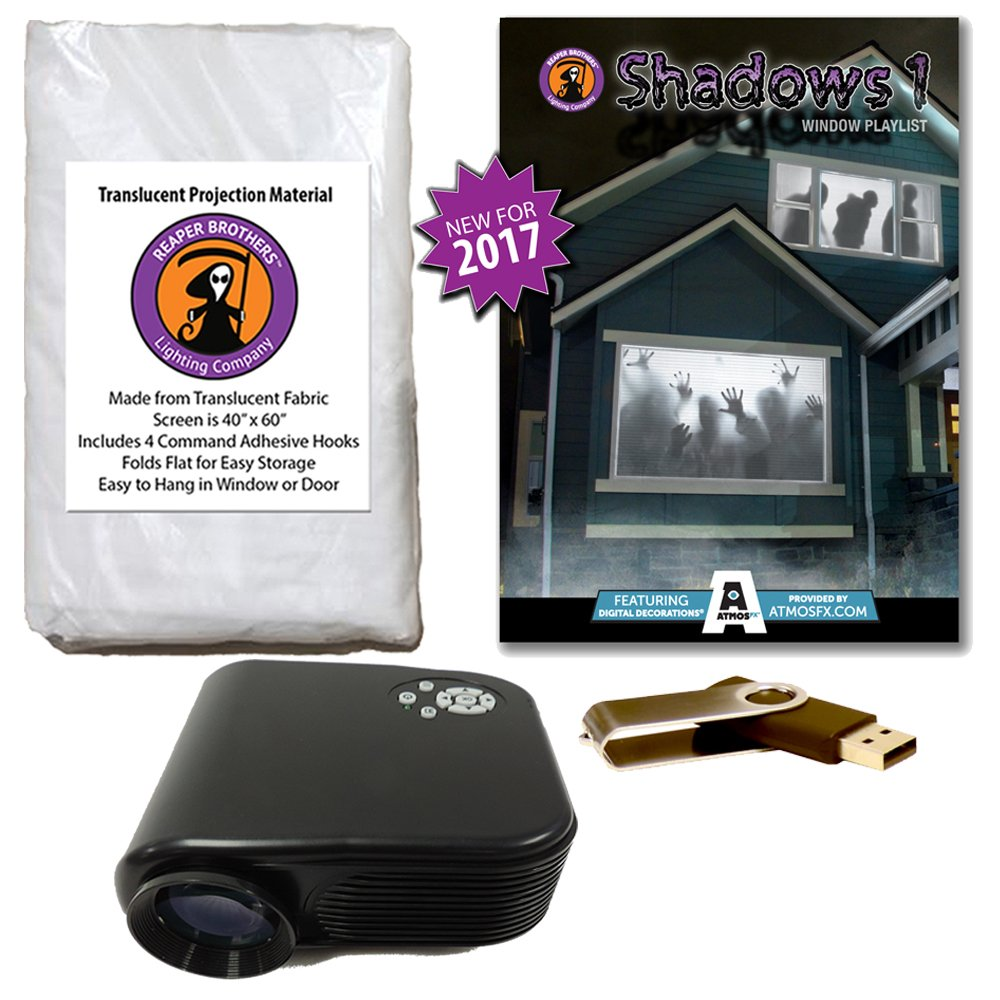 AtmosFearFX SHADOWS 1 Compilation Video Projector Kit on USB. Includes effects from Bone Chillers, Shades of Evil, Tricks or Treats, Night Stalkers and Zombie Invasion