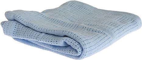 Mantita/Arrullo de punto de algodón para bebés niños y niñas (70 x 90cm) (Azul): Amazon.es: Bebé