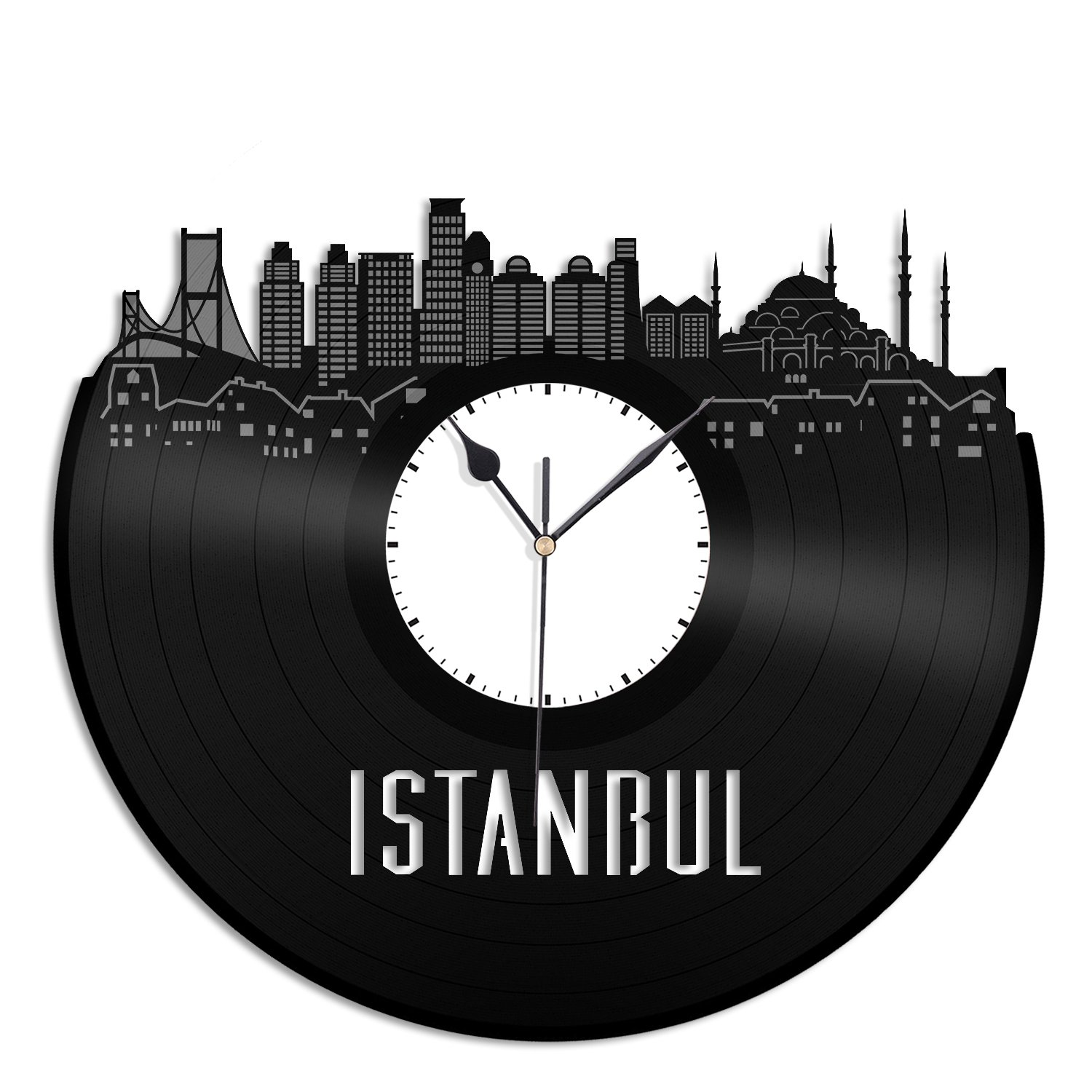 VinylShopUS - Istanbul City Skyline Vinyl Wall Clock Home Room Office | Unique Gift for Anniversary | Home Decoration