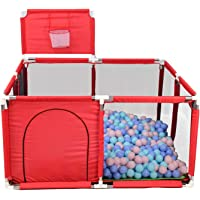 Baby Playpen,Portable Baby Extra Large Mesh Fence with Basketball Hoop, Kids Activity Centre Safety Play Yard for Baby…